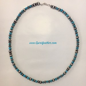 Navajo Pearl Sterling Silver and Turquoise Necklace