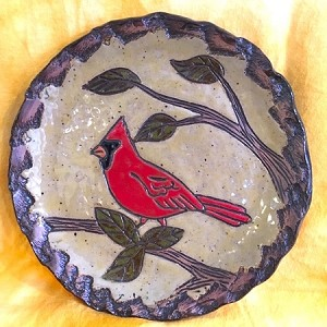 Hand made and hand carved Cardinal Plate