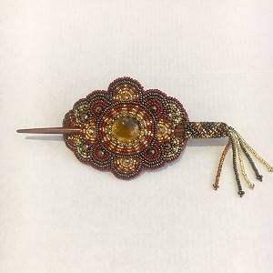 Hand Beaded Oval Hair stick  Brown and Gold