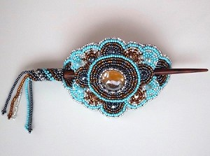 Hand Beaded Oval Hair stick Turquoise and Gold