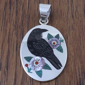 Zuni inlaid Raven pendant by Nancy and Ruddell Laconsello