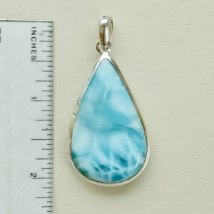 Larimar teardrop pendant two-sided with beautiful silky texture in different shades - Love the feel of this pendant