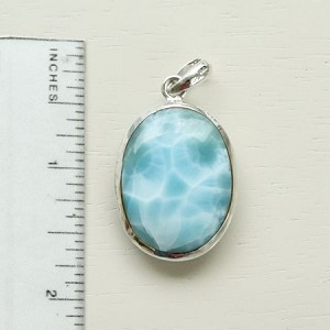 Larimar oval pendant two-sided with beautiful silky texture in different shades - Love the feel of this pendant