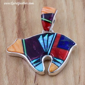 Multi-colored Two-sided Inlaid Bear Pendant