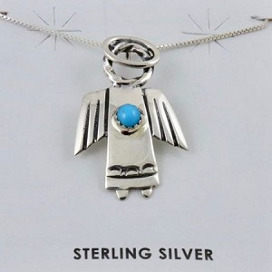 Turquoise and Sterling Silver Angel Pendant with Sterling Silver chain 18""