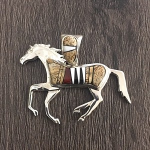 Sterling Silver Inlay Horse Pendant Brown Tones