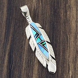 Opal and Black Jade Feather Pendant in a detailed Sterling Silver design