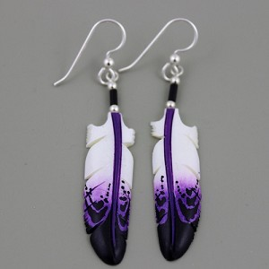 Bone carved Eagle feather painted earrings purple