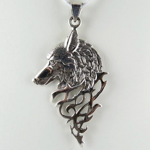 Large Sterling Silver Wolf Pendant with Triangular Drop