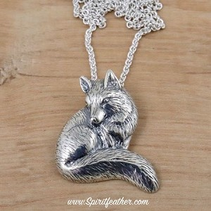 "Sterling Silver Fox Pendant with Sterling Silver 18"" Chain"