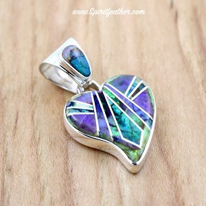Spiderweb Opal Inlaid Heart Pendant