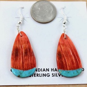 Spiny Oyster and Turquoise Slab earrings