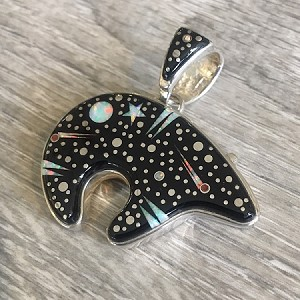 Large Starry Night Bear - A Two Sided Pendant