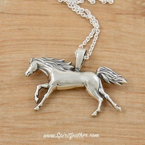 "Sterling Silver Two Sided ""Running Free"" Horse Pendant and comes on a Sterling Silver 18"" Chain"