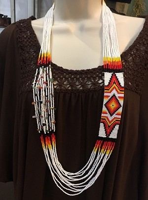 Hand Beaded Necklace with White and Fire Color Beads