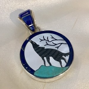 Howling Wolf in Front of the Moon Pendant