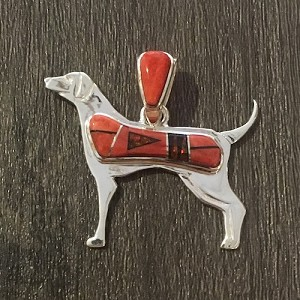 Dog Pendant pendant in Spiny Oyster, Red Opal and Black Jade