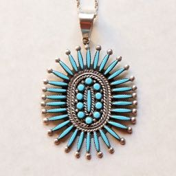 Sleeping Beauty Turquoise Large Zuni Needlepoint and Petit Point Pendant with Sterling Silver Chain